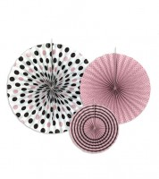 Rosetten-Set - rosa, braun, weiß - 3-teilig