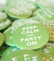 """Button """"Keep Calm and Party On"""" - 56 mm"""