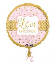 """Runder Folienballon """"Love - Always & Forever"""" - rosa/gold"""