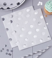 "Servietten ""Pick and Mix"" - Polka Dot - silber - 20 Stück"