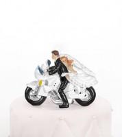 """Tortenfigur """"Brautpaar auf dem Motorrad"""""""