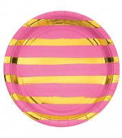 Pappteller - candy pink/gold - 8 Stück