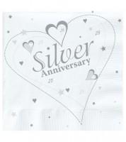"""Servietten """"Silver Anniversary"""" - 18 Stück"""