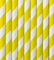 Papierstrohhalme gestreift - gelb - 10 Stück