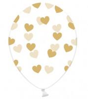 """Luftballons """"Goldene Herzen"""" - transparent - 6 Stück"""