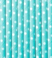 Papierstrohhalme mit weißen Punkten - skyblue - 10 Stück