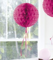 Wabenball mit Tasseln - 30 cm - pink