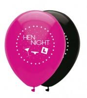 "Luftballon-Set ""Hen Night"" - pink/schwarz - 6 Stück"