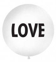 """Riesenballon """"LOVE"""" - weiß/schwarz - 1 m"""