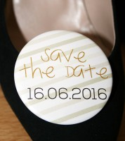 Dein Button: Save the Date - metallic - 56 mm