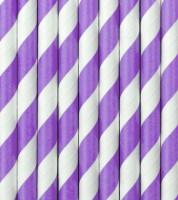 Papierstrohhalme gestreift - lila - 10 Stück
