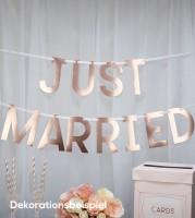 """Schriftzuggirlande """"Geo Chic"""" - Just Married - 1,5 m"""