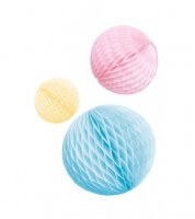 Wabenball-Set - hellblau, rosa, gelb - 3-teilig