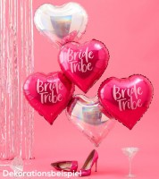 "Herz-Folienballon-Set ""Bride Tribe"" - pink/irisierend - 5-teilig"