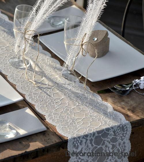 Spitzen-Tischläufer - weiß - 18 cm x 3 m