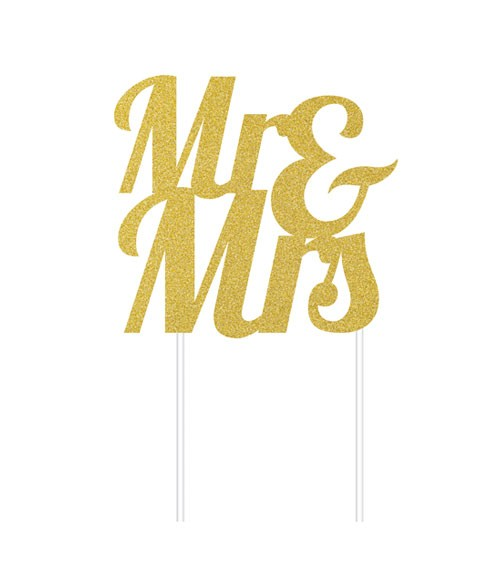 "Kuchen-Topper aus Papier ""Mr & Mrs"" - glitter gold"