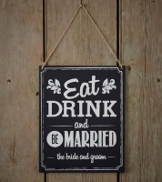"Vintage-Holzschild ""Eat, drink and be married"""