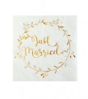 """Just Married Cocktail-Servietten """"Gold & White"""" - 20 Stück"""