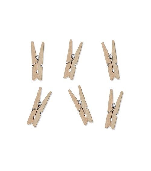 Mini-Wäscheklammern aus Holz - natur - 20 Stück