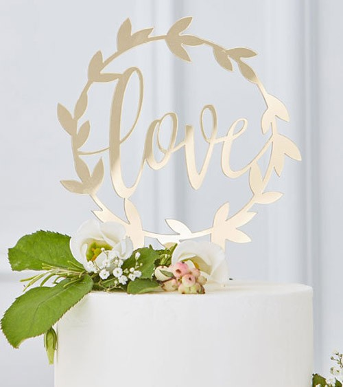 "Cake-Topper aus Acryl ""Love"" - gold"