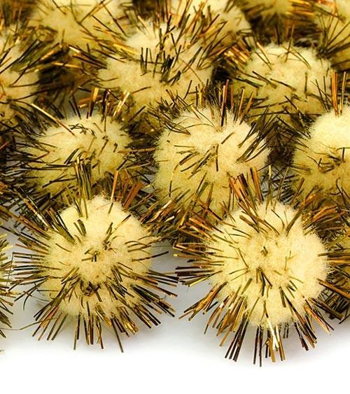 Plüsch-Pom Poms mit Glitter - gelb - 20 Stück