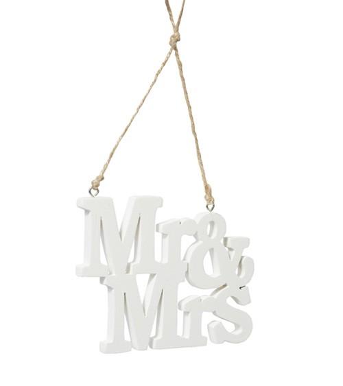 """Hängedeko aus Holz """"Mr & Mrs"""" - 12,5 cm"""