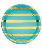 Pappteller - bermuda blue/gold - 8 Stück