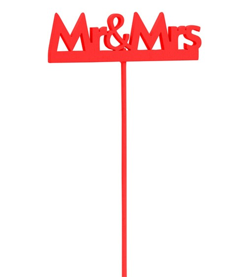 "Holzstab ""Mr & Mrs"" - rot - 8 cm - 2 Stück"