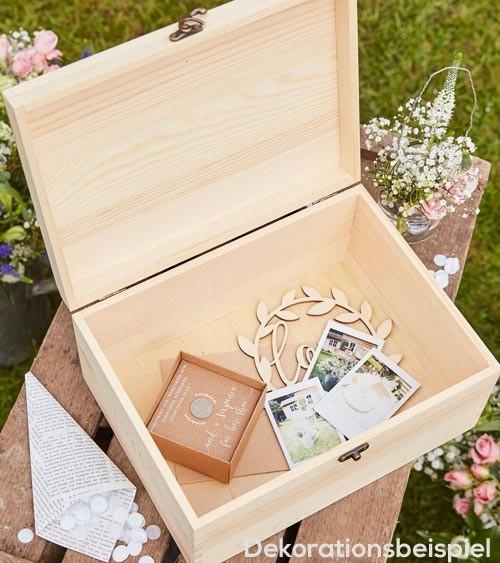 "Erinnerungs-Box aus Holz ""Our Wedding Memories"" - 28 x 20,5 x 13,5 cm"
