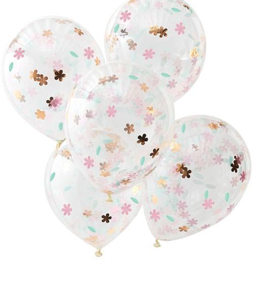 Transparente Ballons mit Blumen-Konfetti - pastell/rosegold - 5 Stück