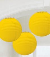 Lampion-Set - 3-teilig - 24 cm - gelb