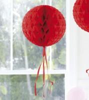Wabenball mit Tasseln - 30 cm - rot