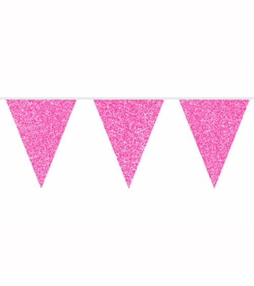 Wimpelgirlande mit Glitter - pink - 6 m