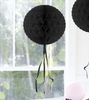 Wabenball mit Tasseln - 30 cm - schwarz
