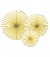 Deko-Fächer-Set mit Goldrand - gelb - 3-teilig