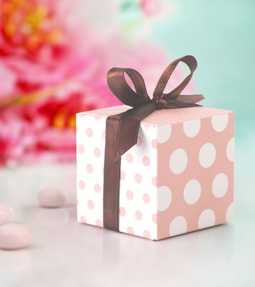 Gastgeschenkboxen mit Punkten - rosa/weiß - 10 Stück