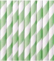 Papierstrohhalme gestreift - mint - 10 Stück