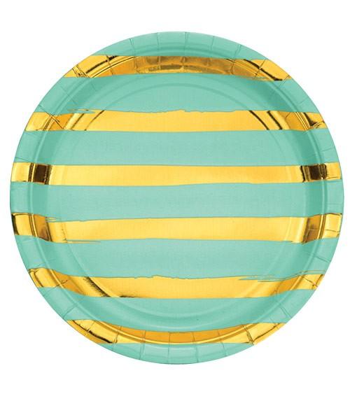 Pappteller - fresh mint/gold - 8 Stück