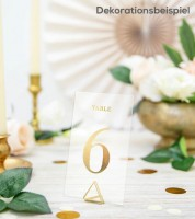 Transparente Tisch-Nummern 1 bis 20 - gold