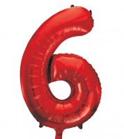 "Supershape-Folienballon ""6"" - rot - 86 cm"