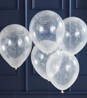 Transparente Ballons mit Engelshaar - silber - 5 Stück