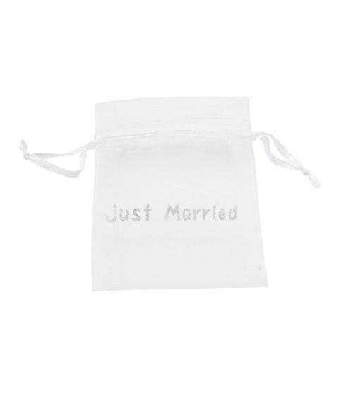 "Organza-Beutel ""Just Married"" - weiß/silber - 8 x 10 cm - 6 Stück"