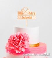 """Dein Cake-Topper """"Mr & Mrs - Kleeblatt"""" aus Holz - Wunschtext"""