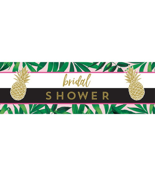 "Bridal Shower-Partybanner ""Goldene Ananas"" - 152 x 51 cm"