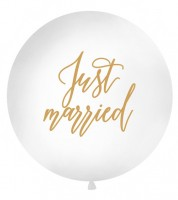 "Riesenballon ""Just married"" - weiß/gold - 1 m"