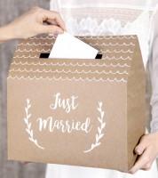 """Hochzeitskartenbox """"Just Married"""" - Kraftpapier - 30 x 30,5 x 16,5 cm"""