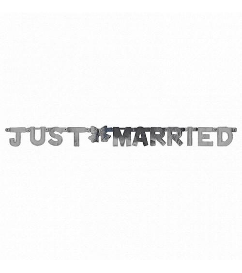 """Schriftzug-Girlande """"Just Married"""" - silber - 1,3 m"""