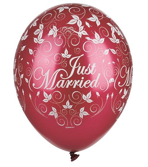 "Metallic-Luftballons ""Just Married"" - bordeaux - 30 Stück"