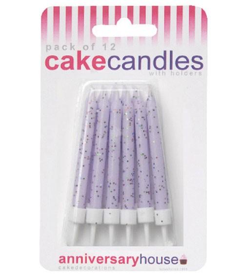 Kuchenkerzen mit Glitter - lavendel - 12 Stück