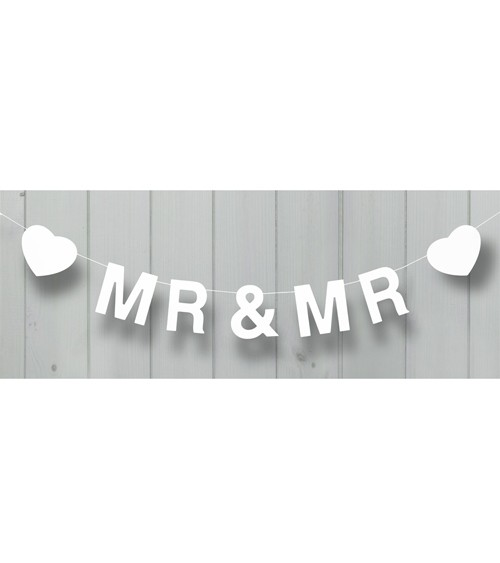 "Holzgirlande ""Mr & Mr"" (Mann & Mann) - 1,2 m - weiß"